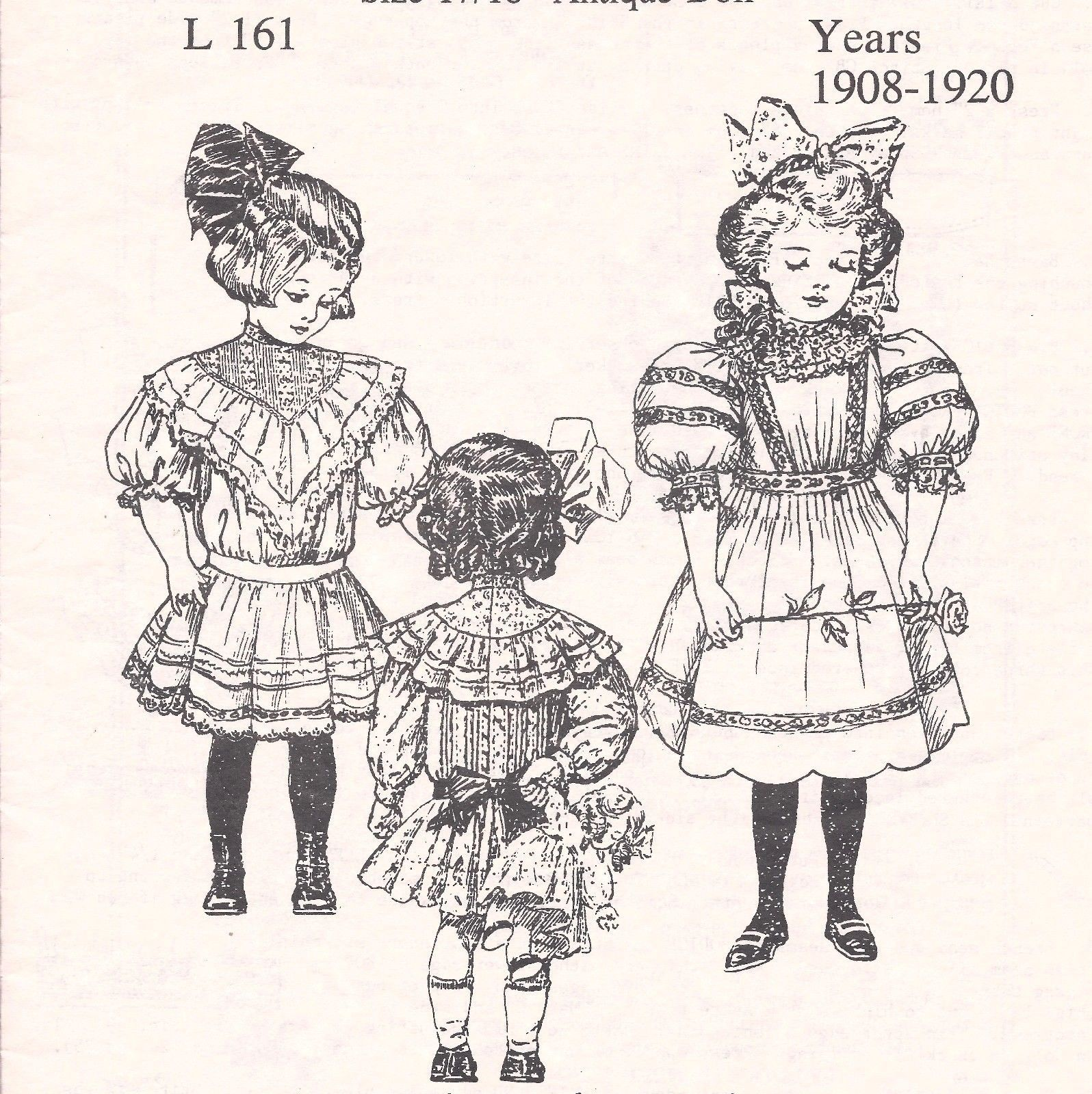 "17 18""Antique French German Child Doll 1908 '20 Dress Variations Pattern Jumeau   eBay"