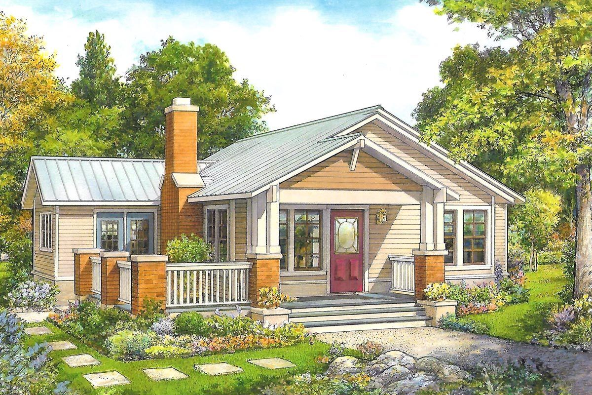 Plan 46075hc Simply Sweet 2 Bed Cottage Plan With Front Porch Cottage Plan Small Cottage Homes House Plans