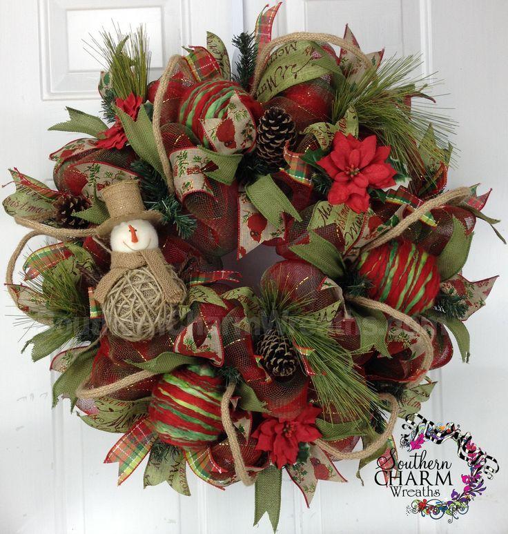 Deco mesh christmas felt burlap snowman themed wreath for Decorating with burlap ribbon for christmas