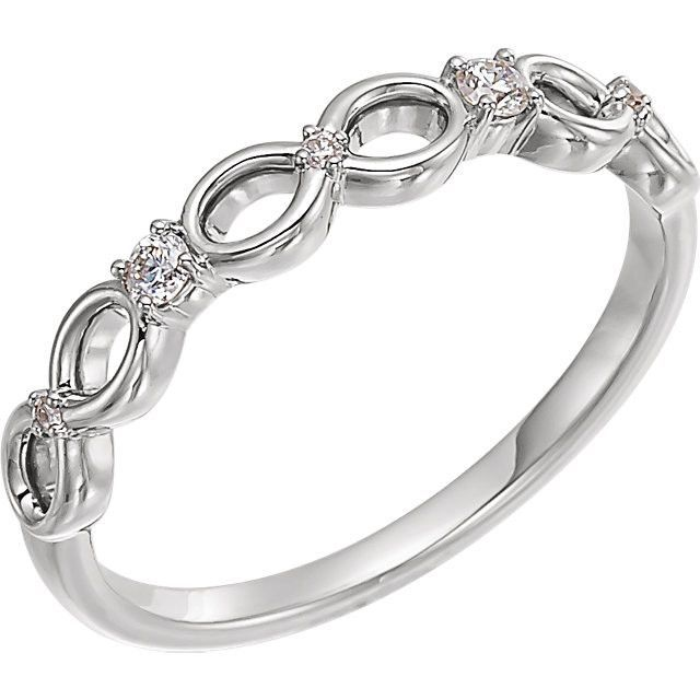 14K White Gold .08 CTW Diamond Infinity-Style Ring