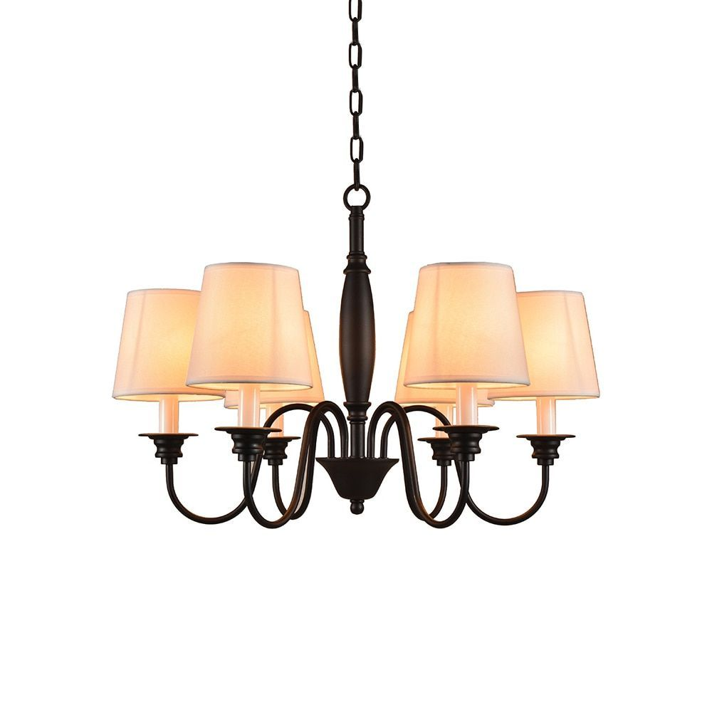 Industrial 6 Light Chandelier With Fabric Shade