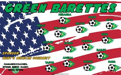 Barettes-Green-41241 digitally printed vinyl soccer sports team banner. Made in the USA and shipped fast by BannersUSA. www.bannersusa.com