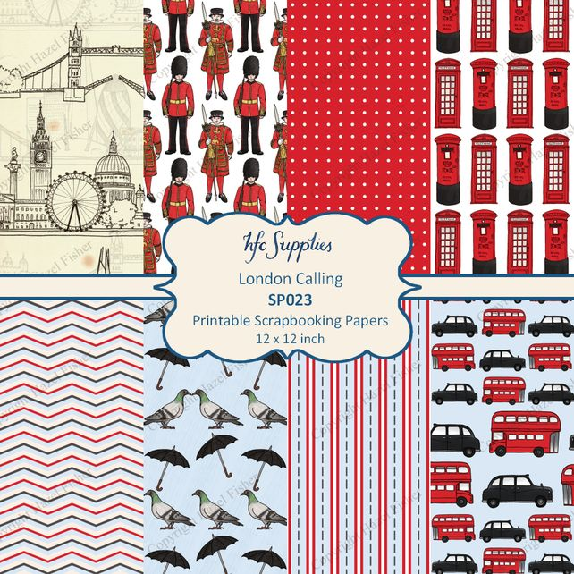 London Digital Papers London Skyline Soldier Beefeater Red