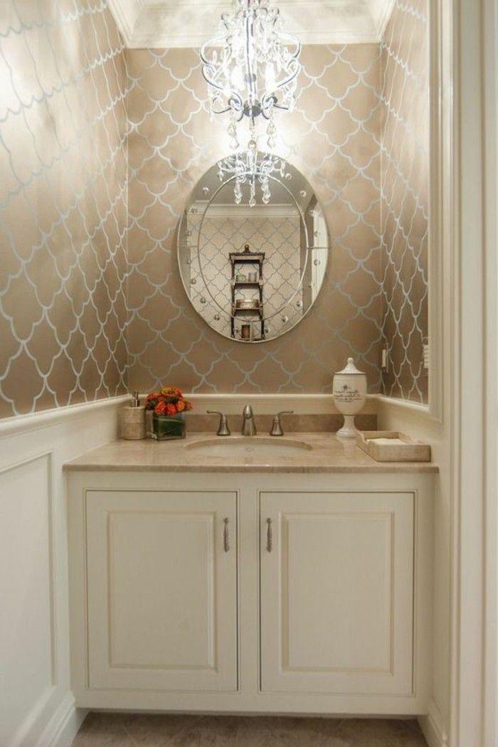 badezimmer deko baddesign badezimmer in beige und weis runder - kronleuchter für badezimmer