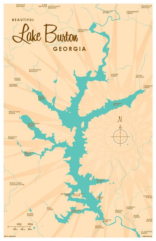 Lake Burton GA Map Print Lakebound Maps Pinterest Lakes - Georgia map lakes