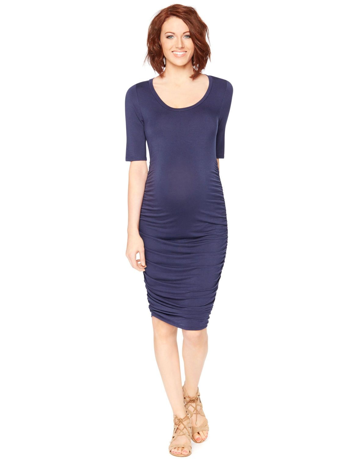 Motherhood Maternity Elbow Sleeve Side Ruched Maternity Dress ...