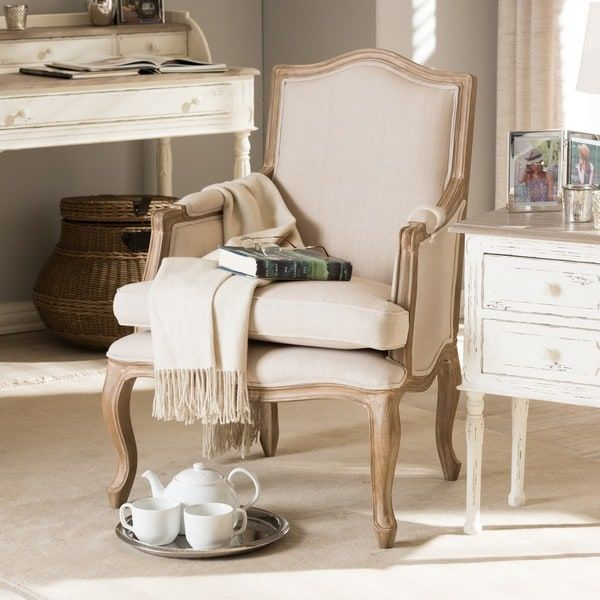 Nivernais Wood Traditional French Accent Chair Chair