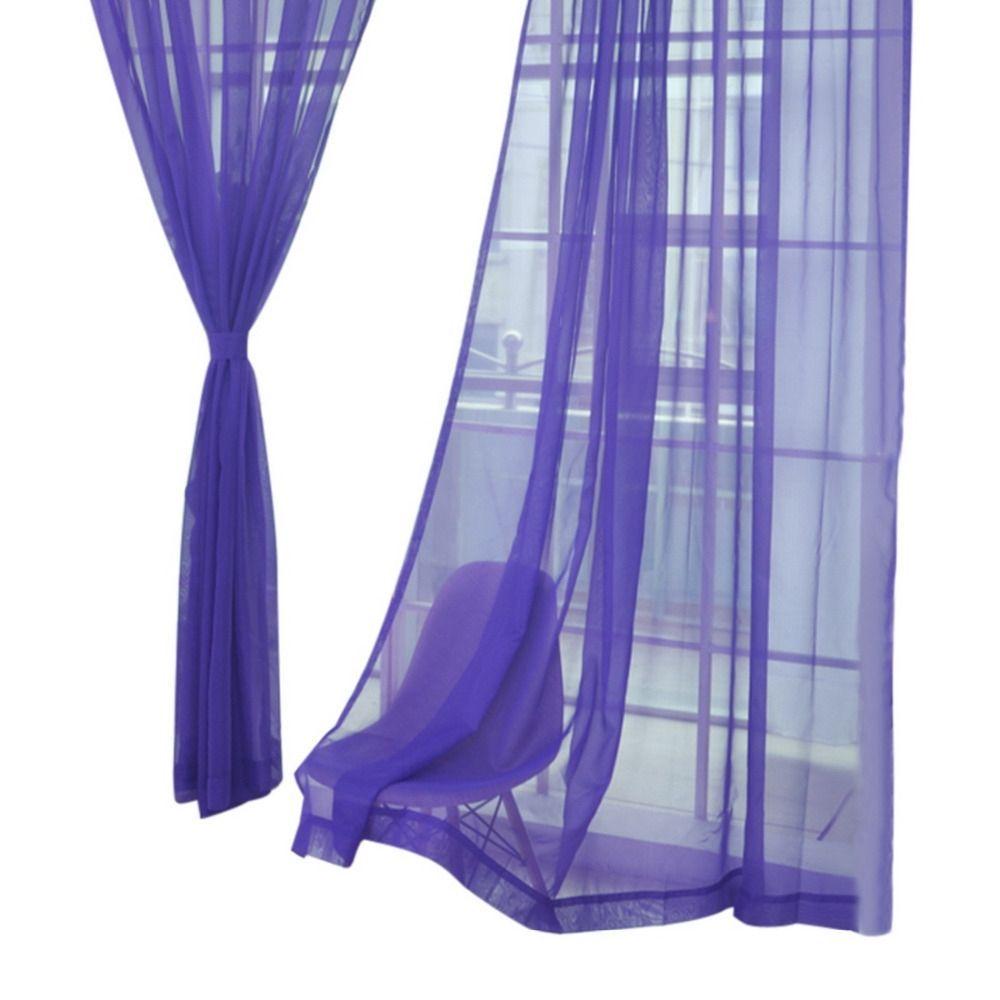 Urijk pure color tulle door window blinds curtains screems kitchen