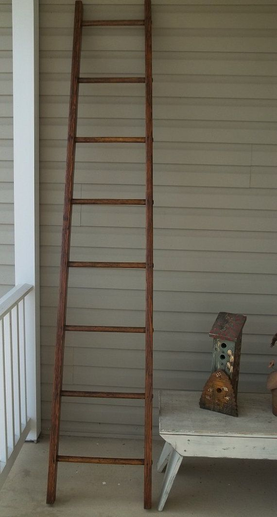 Vintage Orchard Ladder 9 Step Refinished By Treasuresbybetsy 172 Ladder Decor Old Ladder Ladder