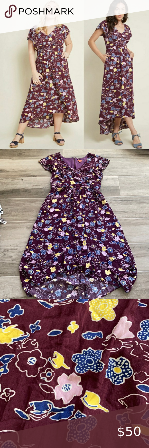 Modcloth 2x Gallery Flattery Maxi Dress Retro Print Dresses Mod Cloth Dresses Red Dress Maxi [ 1740 x 580 Pixel ]