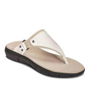 by Aerosoles Women's Wip About Thong Sandal White Combination Faux  Leather/Fabric Size 9 M