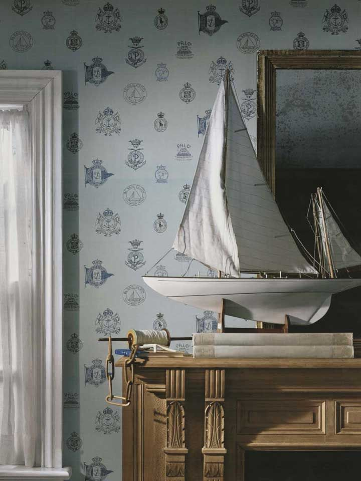 Sea Worthy Crests Adorn This Nautical Wallpaper From Ralph Lauren Find It At Americanblinds