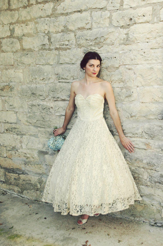 1950s Tea Length Wedding Dress Vintage Antique Ivory Lace