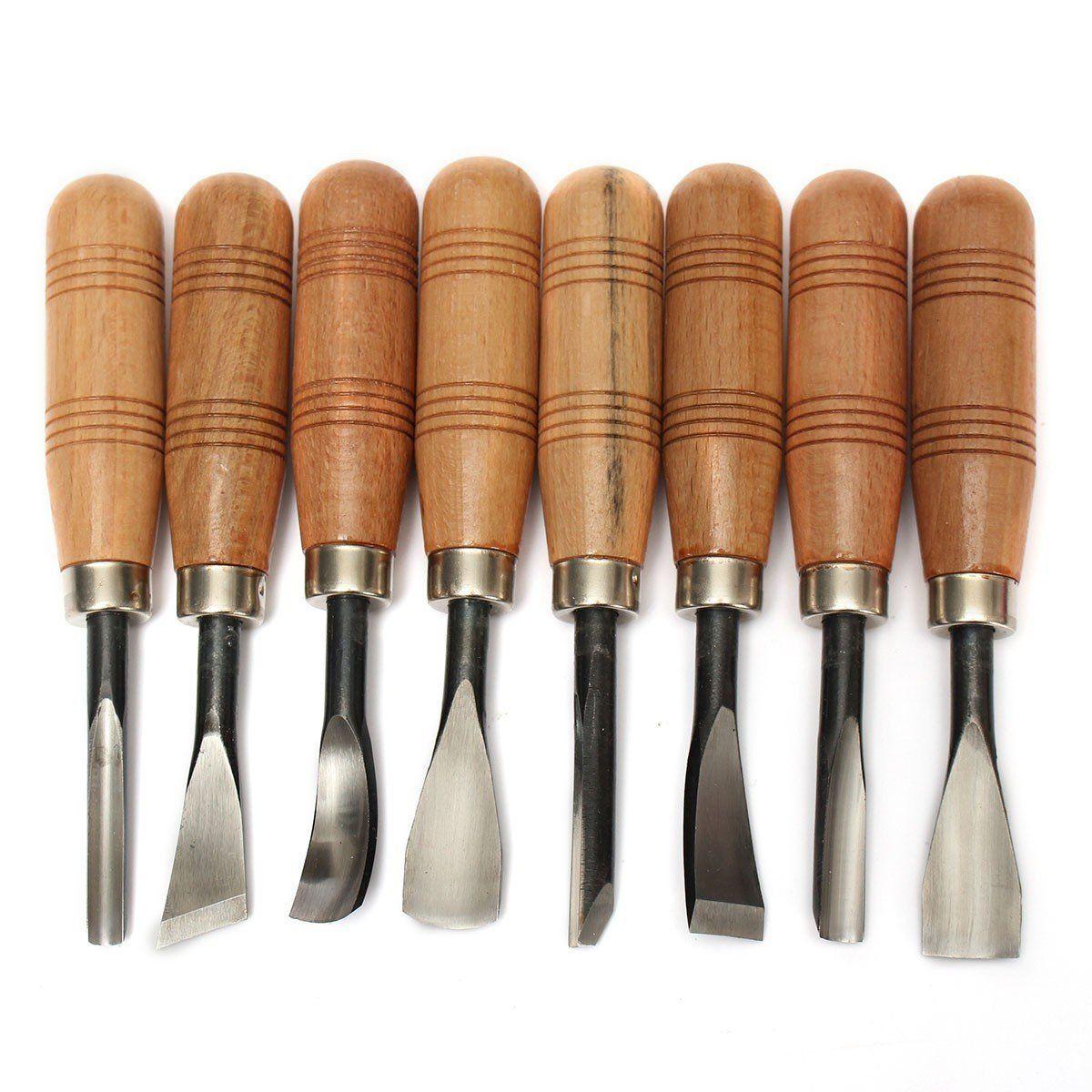 kingso 8pcs wood sculpture carving chisel tool set diy art