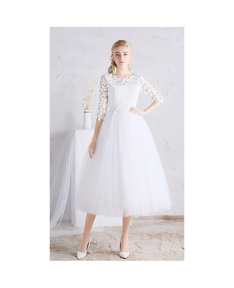 A line tea length wedding dresses tulle with sleeves scoop neck