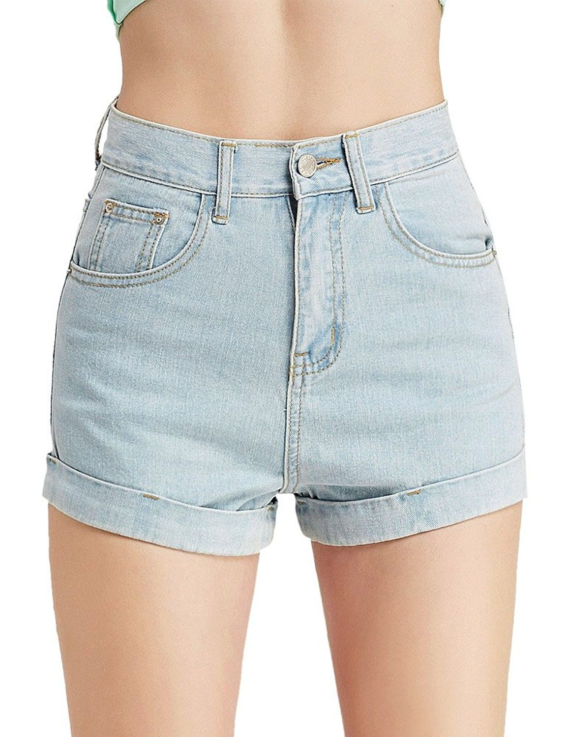 7c88208ddd2779 High Waist Shorts Summer Sexy Distressed Folded Hem Denim Booty Jeans Shorts  For Women - 01 Light Blue - CQ18C3IU2WL,Women's Clothing, Shorts #women ...