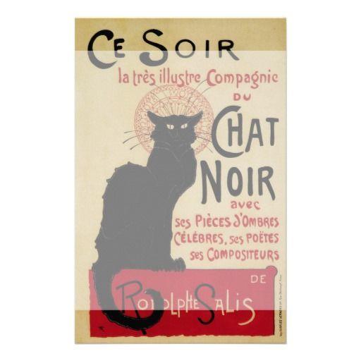 Vintage Art Nouveau Poster; Ce Soir Chat Noir Stationery Design