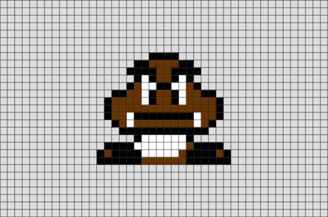 Super Mario Goomba Pixel Art In 2020 Pixel Art Pixel Art Grid