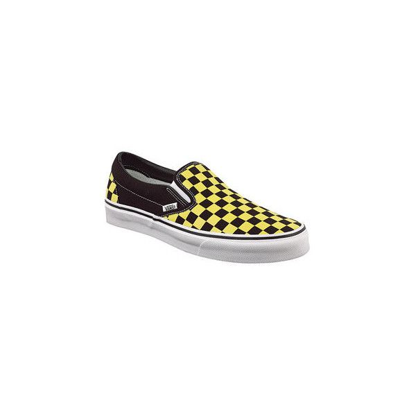checkerboard vans yellow line