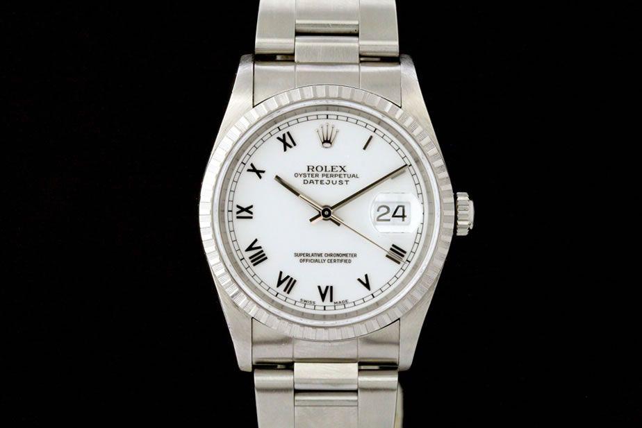 Rolex Datejust (ca. 1997-98)  Oyster-Band, Weißes Zifferblatt, Römische Indexe    Referenz: 16220 | U-Serie | Ø 36 mm  http://www.juwelier-leopold.de/uhren/rolex/datejust.html
