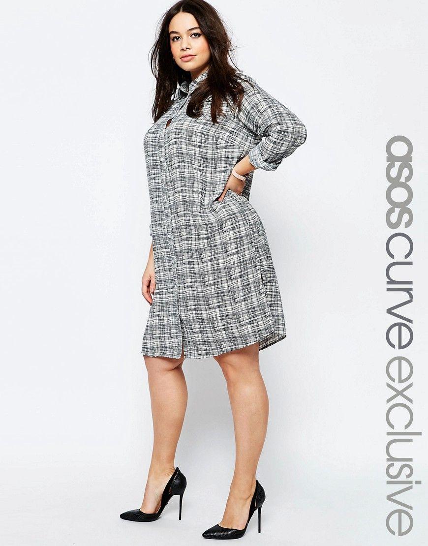 ASOS CURVE Shirt Dress in Sketchy Check Print - Multi. Plus