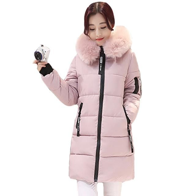 f23ff8b2de8 women winter jacket plus size 2017 army green womens jacket thick Fur  Hooded long Down Cotton Padded Female Coat Parka QH0391