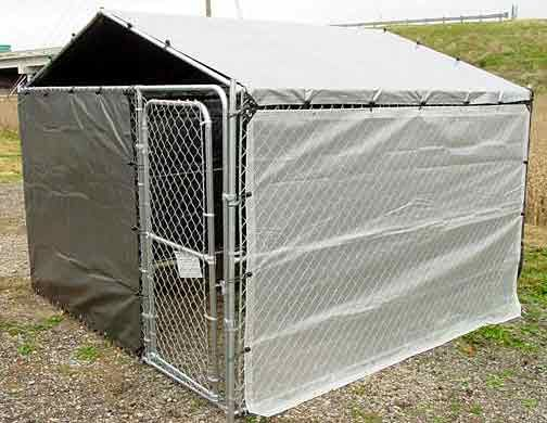 E side tarp winter bundle special for 10x10 kennel dogs for Outside covered dog kennels