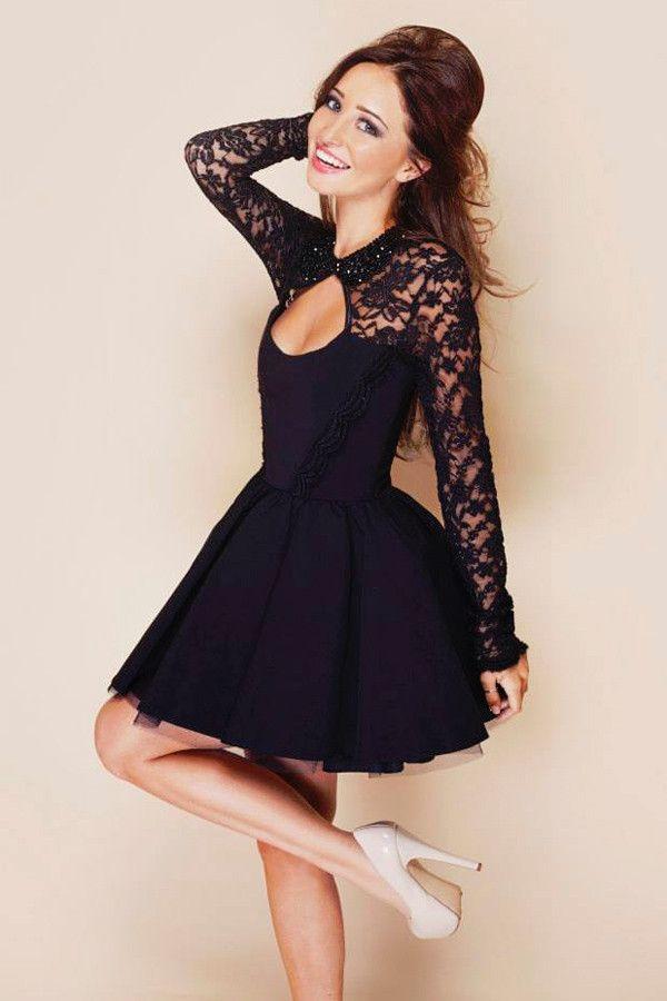 Sexy Stitching Backless Hollow Lace Bodycon Mini Dress Lace Dress