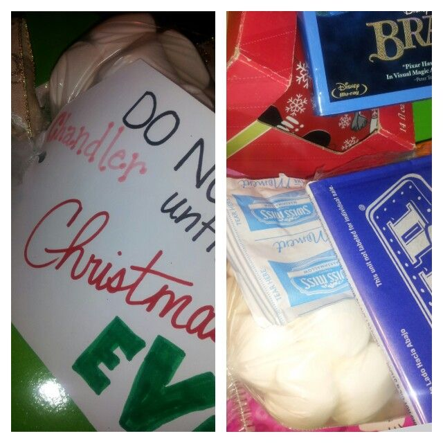 Christmas Eve box for my 5 year old daughter! Includes pj's, movie, hot chocolate packs ...