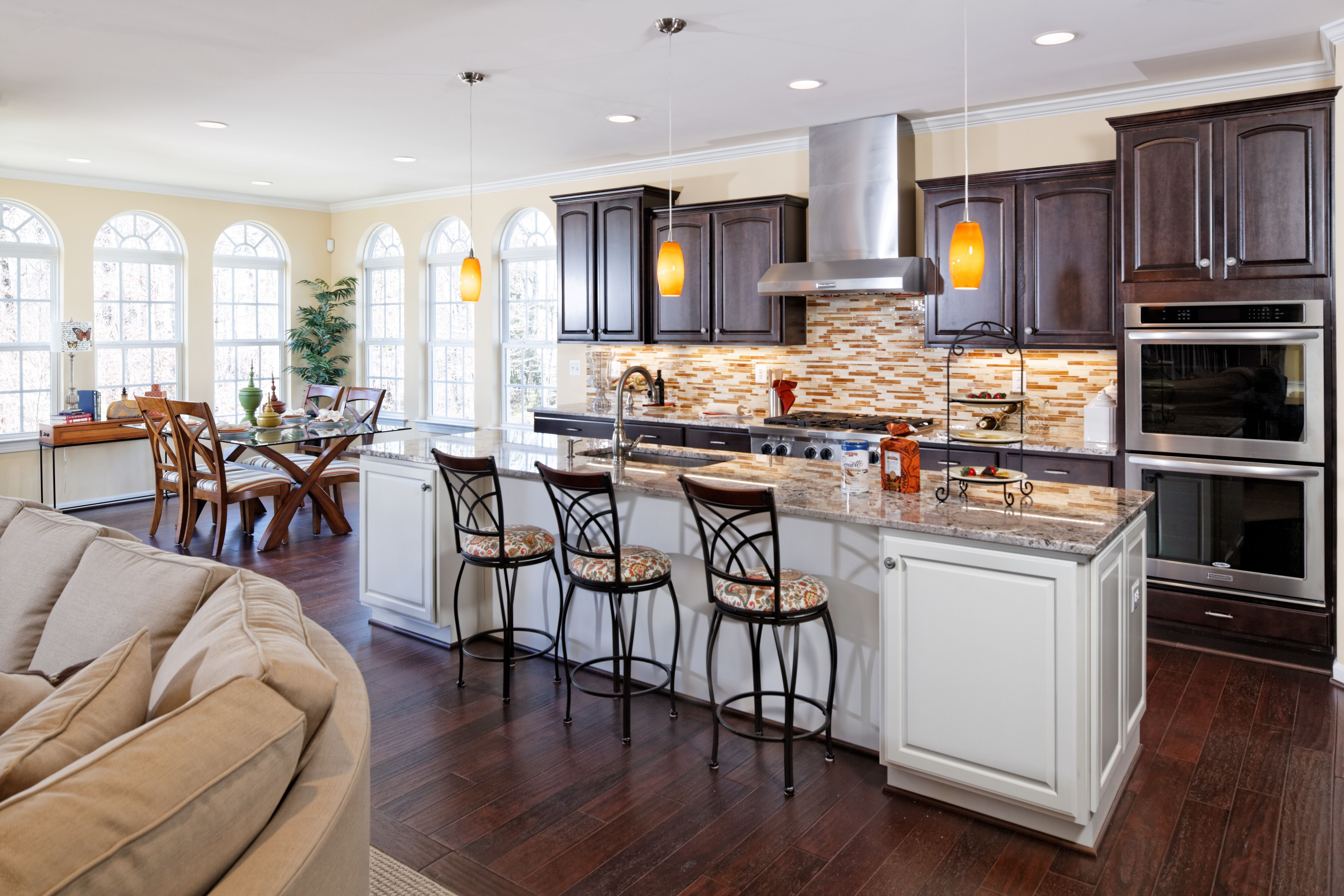 Delightful The Modena Family Gourmet Kitchen By Mid Atlantic Builders. Espresso  Cabinets With 11 Ft