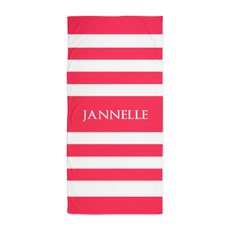 Coral Red And White Stripes Personaliz Beach Towel By