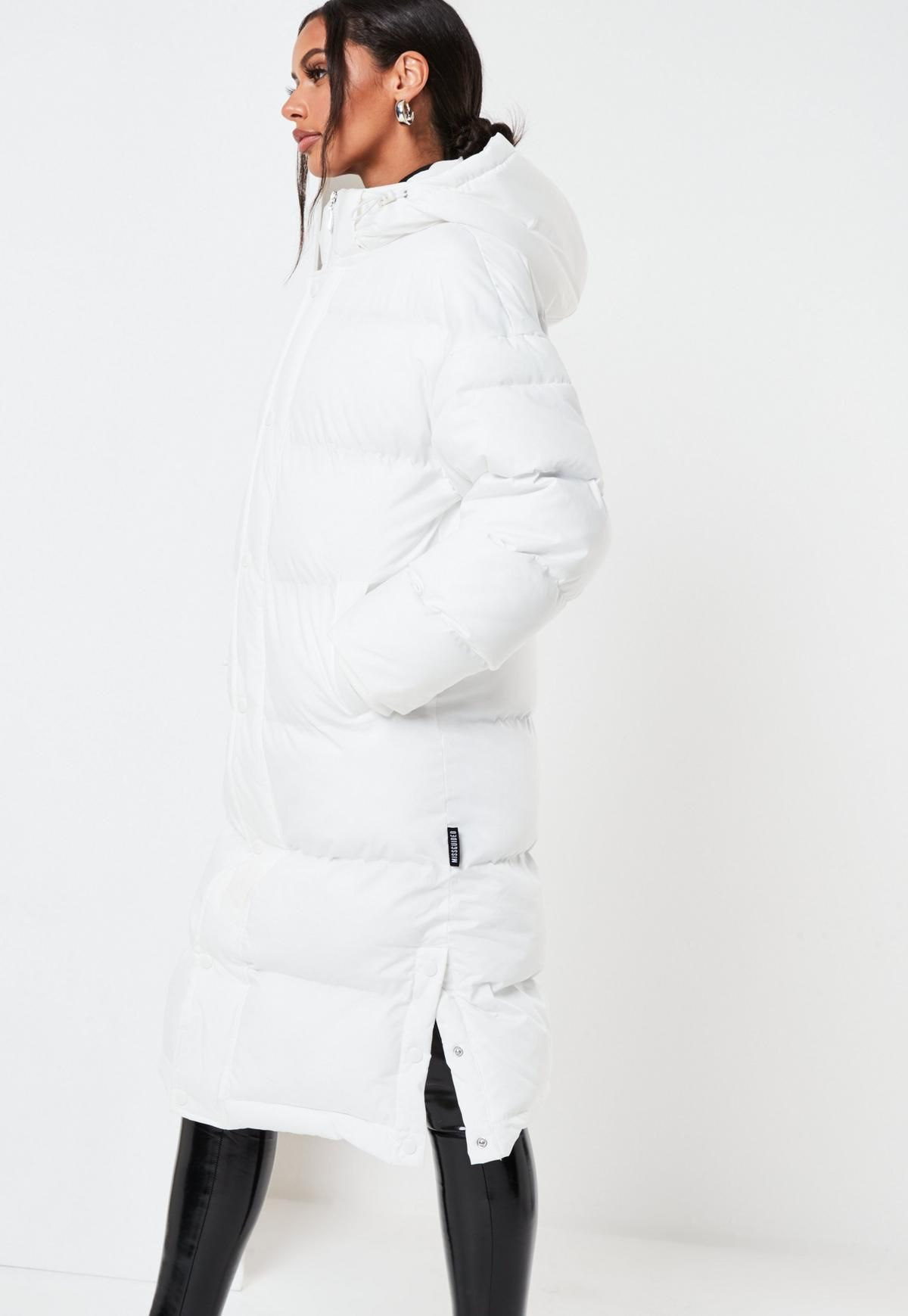 White Longline Padded Oversized Puffer Coat Missguided Puffer Coat With Hood White Puffer Coat Long Puffer Jacket [ 1739 x 1200 Pixel ]