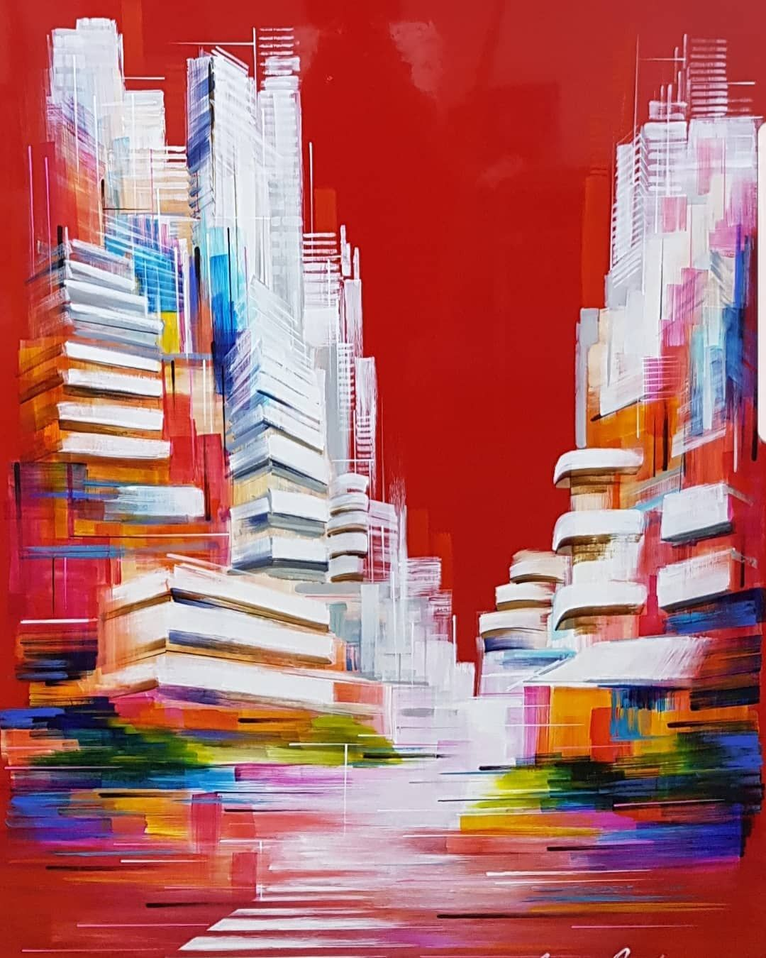 Lacquer On Aluminium Painting Www Adriananaveh Com Tel Aviv In Red Red Painting Telaviv Urban Cityscape Abstra In 2020 Red Painting Cityscape Painting Abstract Artwork