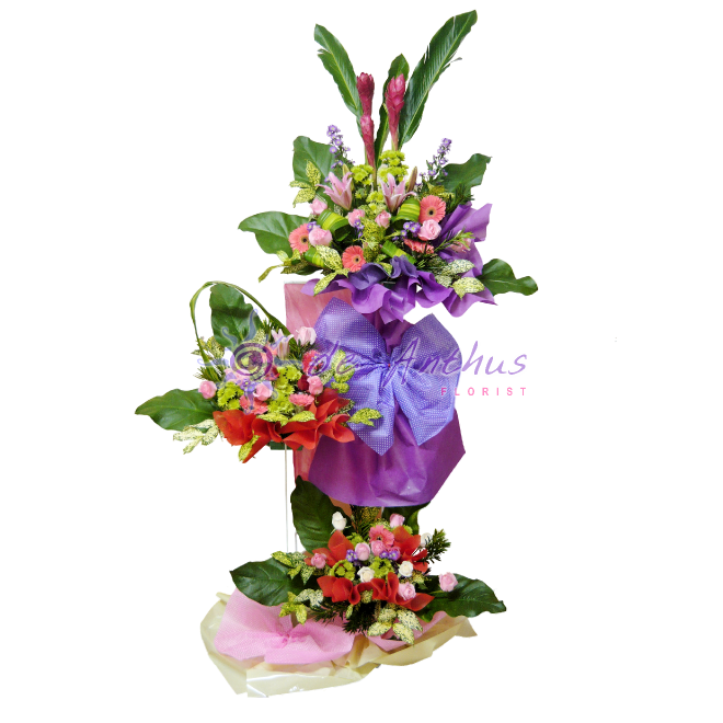 3 Tiers Grand Opening Flowers Stand Arrangement - Congrats flower ...