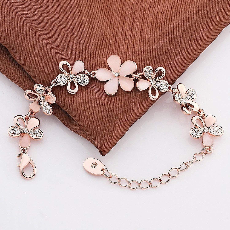 9dc4cf853c876 YouBella Rose Gold Plated Crystal Bracelet for Girls/Women: Amazon ...
