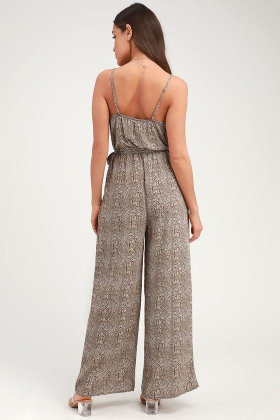 Liza Brown Snake Print Sleeveless Jumpsuit