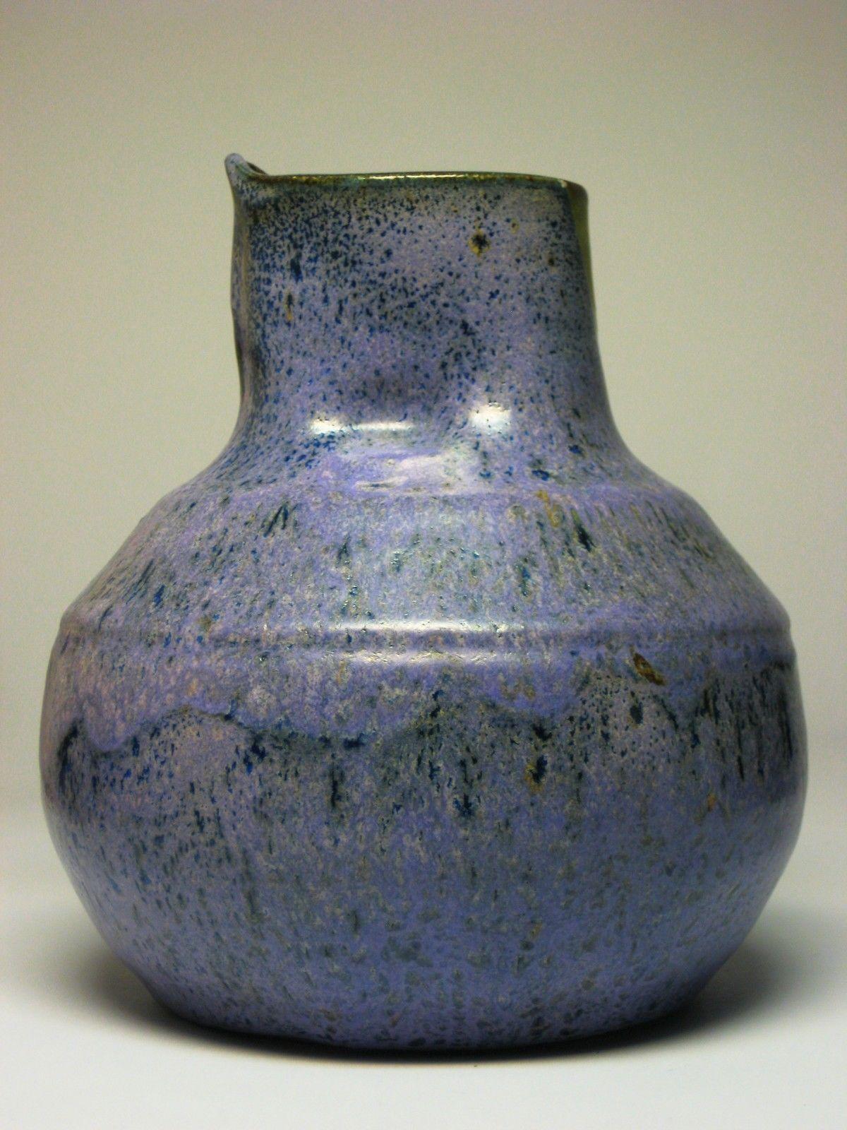 Stoneware Vase Pitcher Purple Cobalt Blue Drip Glaze MCM Eames Fat Lava Style | eBay