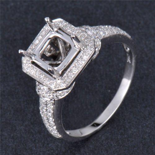 Natural Diamond Semi Mount Halo Engagement Ring Setting Round 5mm 14K White Gold