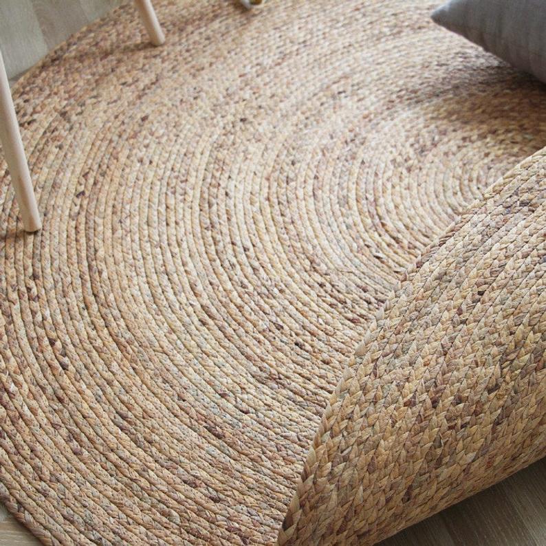 Custom Round Brown Woven Seagrass Rug, Round Straw Rattan Rug
