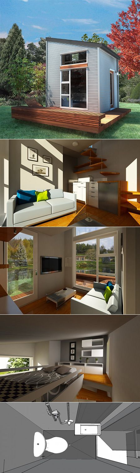 Nomad Homes nomad micro homes tiny house prototype staircase and kitchen humble homes Canadian Company Nomad Homes Has Produced A New Concept Micro Home That Measures Just 100