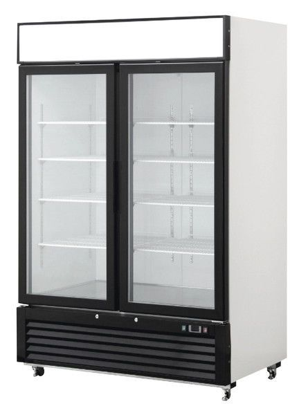 New 2 Double Door Glass Front Reach In Refrigerator Cooler Merchandiser Mcf8716 Glass Door Double Glass Doors Double Glass