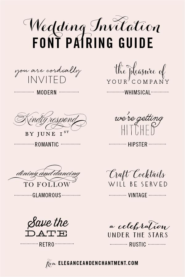 Wedding Invitation Font and Pairing Guide from Elegance and ...
