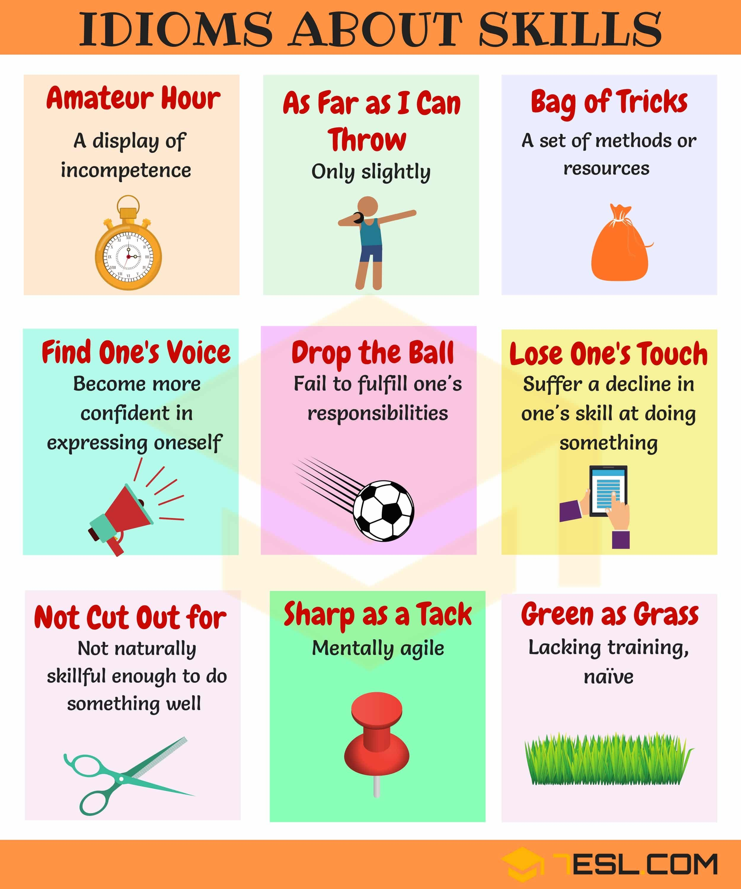 Skill Idioms 10 Useful Phrases Idioms About Skills 7esl English Idioms Idioms And Phrases Idioms