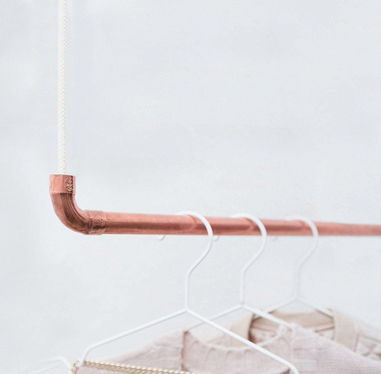 Kleiderstange Hängend design kleiderstange rod knot the copperrope aus kupfer und