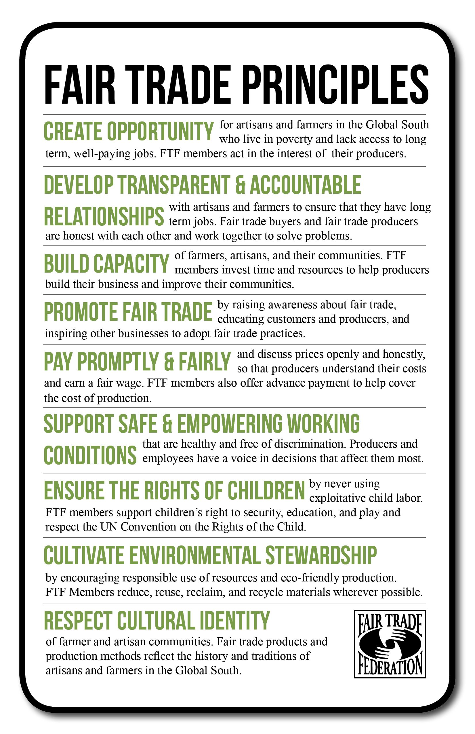 The 9 Fair Trade Federation Principles