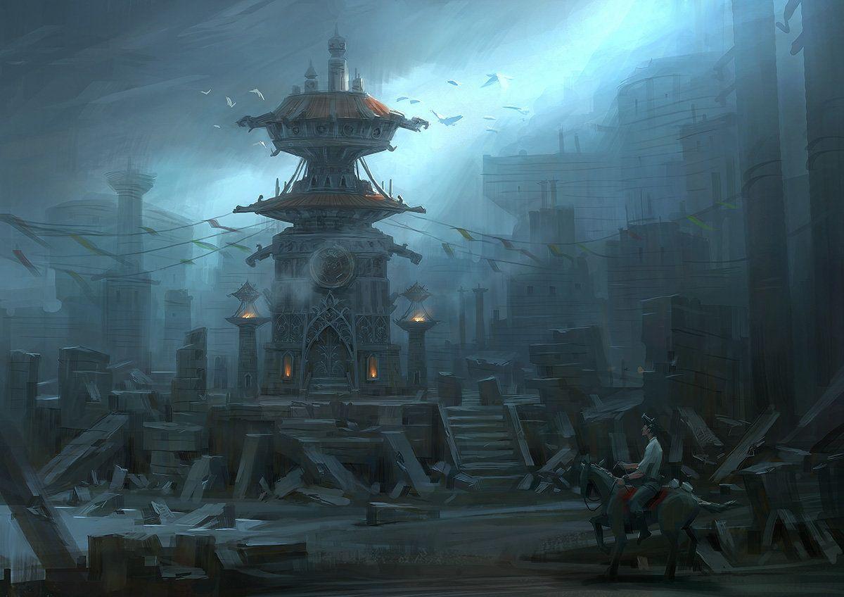 fantasy ruins, Lee b on ArtStation at https://www.artstation.com/artwork/fantasy-ruins