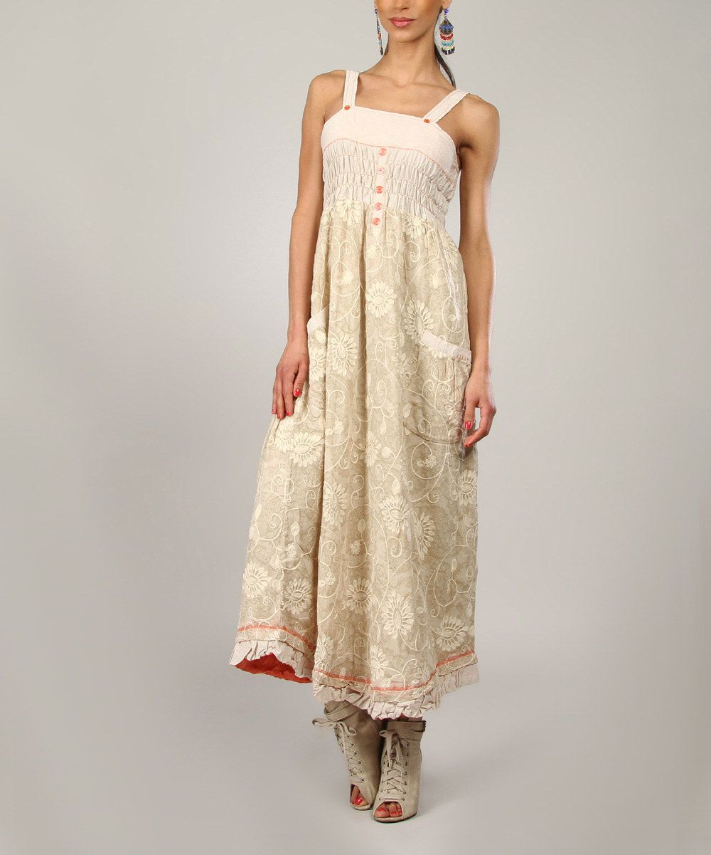 Beige u Coral Embroidered Maxi Dress Women zulily Everyday