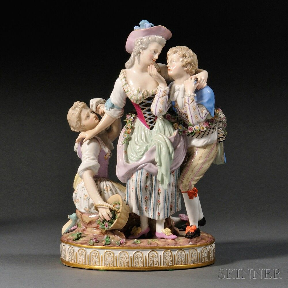 Meissen Porcelain Figural Courting Group, Germany, late 19th century, polychrome enameled and gilded model with three figures, a maiden with suitor, another maiden grieving by her side.