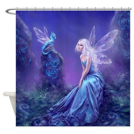 Luminescent Dragon Fairy Shower Curtain By Fairy And Fantasy Art
