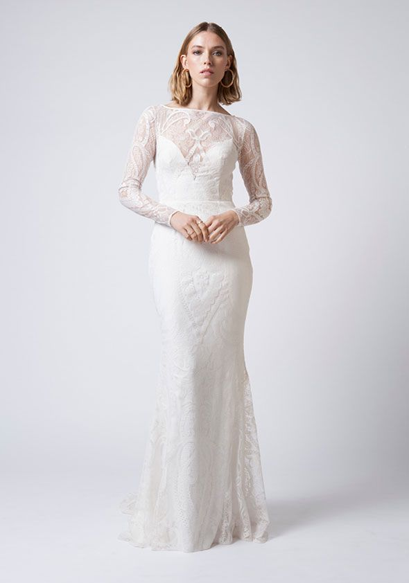 Mariana Hardwick Wedding Dresses - Incarnation bridal collection - Bohemian lace wedding dress with boat neckline full length and exposed back  #weddingdress #weddinggown #weddingdresses